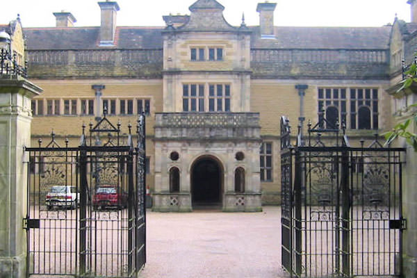 The main entrance to Stokesay Court and it's imposing courtyard