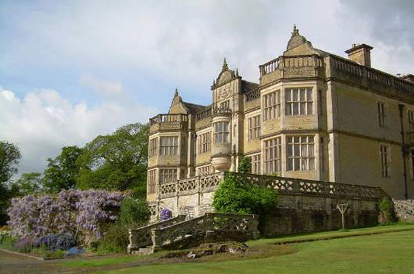 The back of Stokesay Court has amazing views over Shropshire countryside